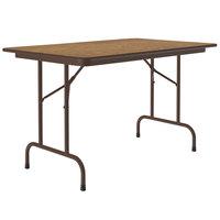 Correll CF3048M-06 30 inch x 48 inch Medium Oak Light Duty Melamine Folding Table with Brown Frame