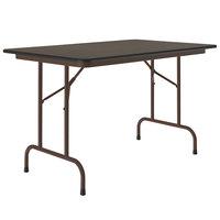 Correll CF3048M-01 30 inch x 48 inch Walnut Light Duty Melamine Folding Table with Brown Frame