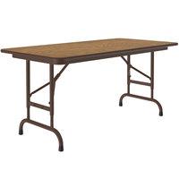 Correll CFA2448M-06 24 inch x 48 inch Medium Oak Light Duty Melamine Adjustable Height Folding Table with Brown Frame