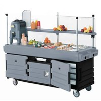 Cambro KVC854426 CamKiosk Black / Granite Gray Customizable Vending Cart with 4 Pan Wells
