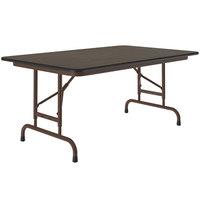 Correll CFA3048M-01 30 inch x 48 inch Walnut Light Duty Melamine Adjustable Height Folding Table with Brown Frame