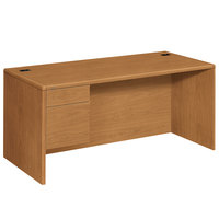 HON 10784LCC 10700 Series 66 inch x 30 inch x 29 1/2 inch Harvest Laminate L Left 3/4 Height Pedestal Desk