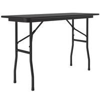 Correll CF1848M-07 18 inch x 48 inch Black Granite Light Duty Melamine Folding Table with Black Frame