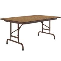 Correll CFA3048M-06 30 inch x 48 inch Medium Oak Light Duty Melamine Adjustable Height Folding Table with Brown Frame