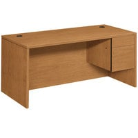 HON 10583RCC 10500 Series 66 inch x 30 inch x 29 1/2 inch Harvest Laminate L Right 3/4 Height Pedestal Desk