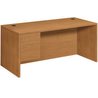 HON 10584LCC 10500 Series 66 inch x 30 inch x 29 1/2 inch Harvest Laminate L Left 3/4 Height Pedestal Desk
