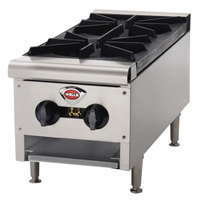 Wells HDHP-1230G Natural Gas Heavy Duty 12 inch Two Burner Countertop Hot Plate - 43,000 BTU