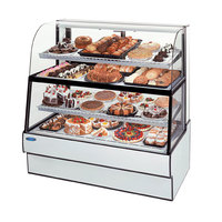 Federal Industries CGR3660DZH 36 inch Curved Glass Horizontal Full Service Dual-Zone Dry / Refrigerated Bakery Display Case