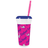 32 oz. Tall Plastic Elephant Ear Design Souvenir Cup with Straw and Lid - 300/Case