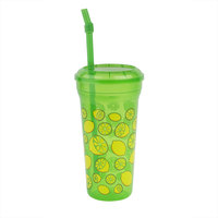 32 oz. Tall Plastic Green Lemon Quench Design Souvenir Cup with Straw and Lid - 300/Case