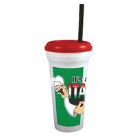 32 oz. Tall Plastic It's a Gotta Be Italian Design Souvenir Cup with Straw and Lid - 300/Case