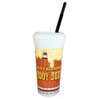 32 oz. Tall Plastic Old Fashioned Root Beer Design Souvenir Cup with Straw and Lid - 300/Case