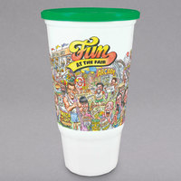 32 oz. Economy Car Cup with Fun at the Fair Design and Green Lid - 504/Case