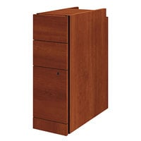HON 105093CO 10500 Series Cognac Laminate Three-Drawer Narrow Pedestal File Cabinet - 9 1/2 inch x 22 3/4 inch x 28 inch
