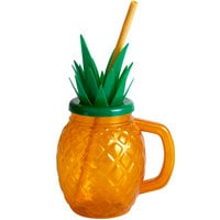 24 oz. Pineapple Plastic Cup with Lid and Straw - 72/Case