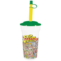 16 oz. Tall Plastic Fun at the Fair Souvenir Cup with Green Lid and Straw   - 250/Case