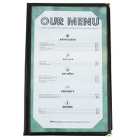 8 1/2 inch x 14 inch Black Two Pocket Menu Cover