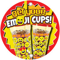12 inch Round Concession Stand Sign with Emoji Cup Design - 2/Pack