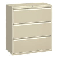 Alera ALELF3041PY Putty Metal Three-Drawer Lateral File Cabinet - 30 inch x 19 1/4 inch x 40 7/8 inch