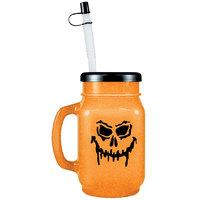 28 oz. Jack-O'-Lantern Plastic Drinking Jar with Lid and Straw - 72/Case
