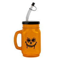 28 oz. Jack-O'-Lantern Plastic Drinking Jar with Lid and Straw - 72/Case