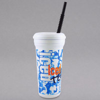 32 oz. Tall Plastic Iced Tea Design Souvenir Cup with Straw and Lid - 300/Case