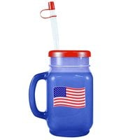 28 oz. Patriotic Plastic Drinking Jar with Lid and Straw - 72/Case