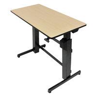 WorkFit by Ergotron 24271928 Birch and Black Sit-Stand Workstation / Stand Up Desk - 47 5/8 inch x 23 1/2 inch x 50 5/8 inch