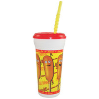 32 oz. Tall Plastic Corn Dog Design Souvenir Cup with Straw and Lid - 300/Case