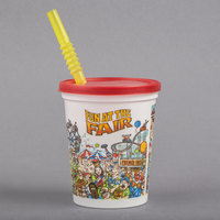 16 oz. Squat Plastic Fun at the Fair Souvenir Cup with Red Lid and Straw - 500/Case