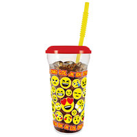 32 oz. Tall Plastic Emoji Design Souvenir Cup with Straw and Lid - 300/Case