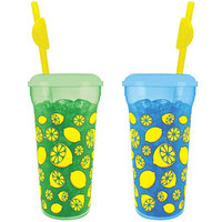 32 oz. Tall Plastic Assorted Green and Blue Lemon Quench Design Souvenir Cups with Straw and Lid - 300/Case