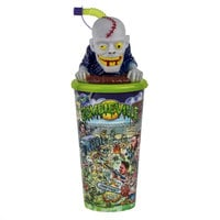 32 oz. Tall Plastic Zombie Design Souvenir Cup with Straw and Topper Lid - 100/Case
