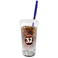 32 oz. Tall Plastic Clear EYCE Design Souvenir Cup with Straw and Lid - 300/Case