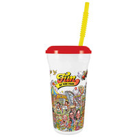 32 oz. Tall Plastic Fun at the Fair Design Souvenir Cup with Straw and Lid - 300/Case