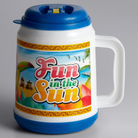 32 oz. Fun in the Sun Mini Tanker with Straw and Lid - 12/Case