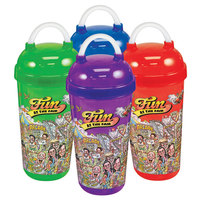 32 oz. Assorted Color Fun at the Fair Tizzeroo Souvenir Cup with Lid and Straw   - 100/Case