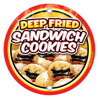 12 inch Round Concession Stand Sign with Fried Sandwich Cookies Design - 2/Pack