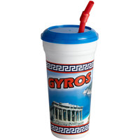 32 oz. Tall Plastic Gyro Design Souvenir Cup with Straw and Lid - 300/Case