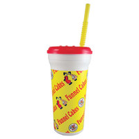 32 oz. Tall Plastic Funnel Cake Design Souvenir Cup with Straw and Lid - 300/Case