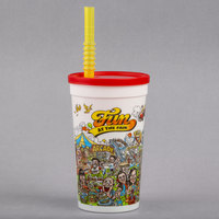 16 oz. Tall Plastic Fun at the Fair Souvenir Cup with Red Lid and Straw - 500/Case