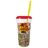 32 oz. Tall Plastic Clear Fun at the Fair Design Souvenir Cup with Straw and Lid - 300/Case