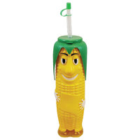 32 oz. Tall Plastic Corn on the Cob Design Souvenir Cup with Straw and Lid - 50/Case