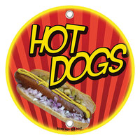12 inch Round Concession Stand Sign with Hot Dog Design - 2/Pack