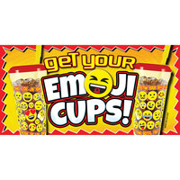 12 inch x 24 inch Rectangular Concession Stand Sign with Emoji Cups Design