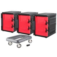Metro Mightylite Front Loading Full Size Insulated Pan Carrier Kit with Three Carriers and Dolly