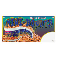 12 inch x 24 inch Rectangular Concession Stand Sign with Hot & Fresh Mini-Donuts Design
