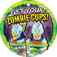 12 inch Round Concession Stand Sign with Souvenir Zombie Cup Design - 2/Pack
