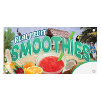 12 inch x 24 inch Rectangular Concession Stand Sign with Smoothie Design