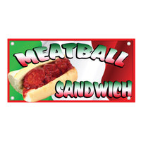 12 inch x 24 inch Rectangular Concession Stand Sign with Meatball Sandwich Design